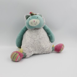 Doudou musical chat bleu gris vert rose les Pachats MOULIN ROTY