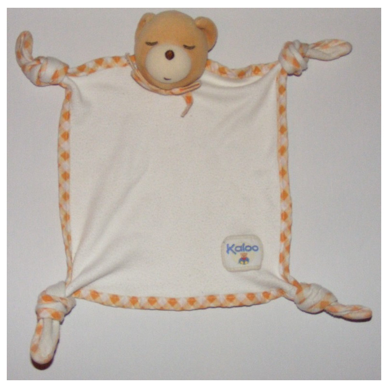 Doudou plat noeuds ours endormi vichy orange Kaloo