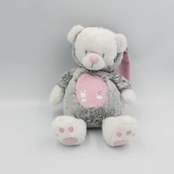 Doudou luminescent ours lapin gris rose blanc étoiles MOTS D'ENFANTS
