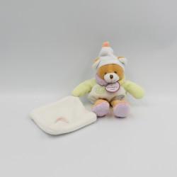 Petit Doudou et compagnie ours boule blanc col pétale mouchoir Nuage