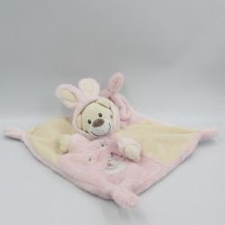 Doudou plat ours déguisé en lapin blanc rose AUCHAN