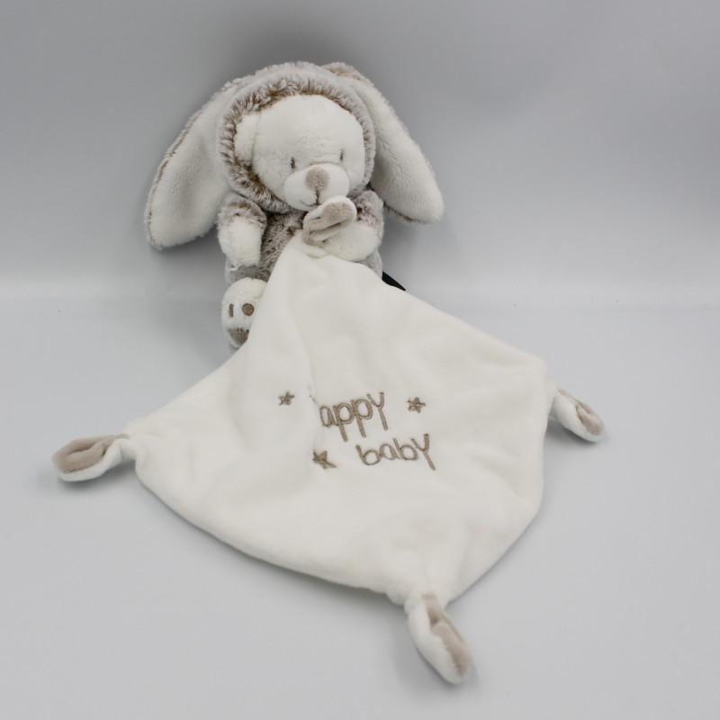 Doudou ours déguisé en lapin blanc beige mouchoir Happy Baby ORCHESTRA PREMAMAN