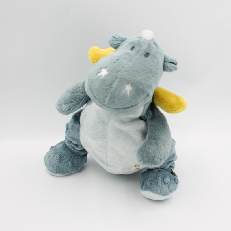 Doudou dragon bleu étoiles Victor et Lucien NOUKIE'S