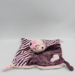 Doudou plat chat rose violet coeur KIMBALOO