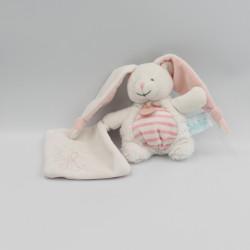 Doudou lapin blanc rose mouchoir Layette BABY NAT