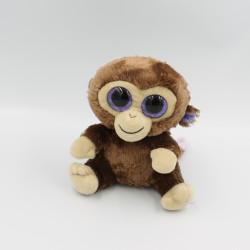 Doudou singe marron gros yeux brillant Coconut TY
