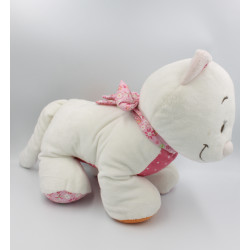 Grand doudou chat blanc orange rose fleurs Celia Iris et Babette NOUKIE'S