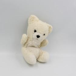 Ancienne peluche ours blanc écru