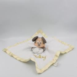 Doudou plat Mickey blanc jaune pois satin DISNEY