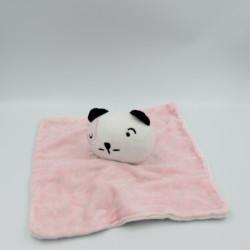 Doudou plat chat rose blanc noir SIPLEC