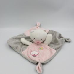 Doudou plat chat gris rose blanc pois MOTS D'ENFANTS