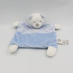 Doudou plat ours blanc bleu rayé étoile MOTS D'ENFANTS