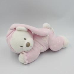 Doudou musical luminescent ours lapin blanc rose oiseau étoiles NICOTOY