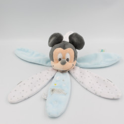Doudou plat pétales Mickey blanc bleu mouton DISNEY BABY
