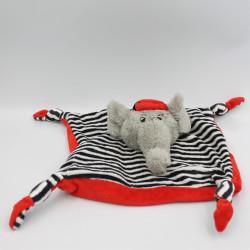 Doudou plat éléphant gris rouge rayé noir LES PETITES MARIE