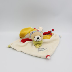 Doudou et compagnie plat ours arlequin blanc col jaune rouge vert
