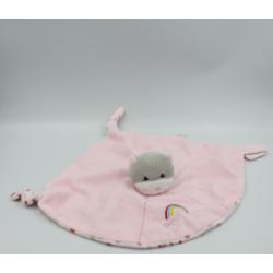 Doudou plat chat rose fleurs arc en ciel GIPSY