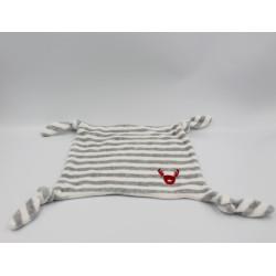 Doudou plat rayé gris blanc cerf renne elan rouge VERTBAUDET
