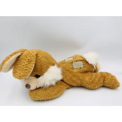 Doudou lapin beige marron couché NICOTOY