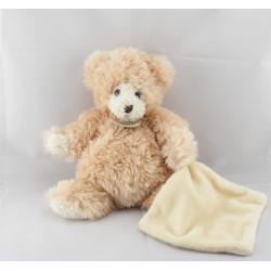 Doudou Ours beige écru avec mouchoir Baby Nat