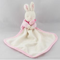 Doudou lapin rose et son mouchoir Klorane Lot de 2