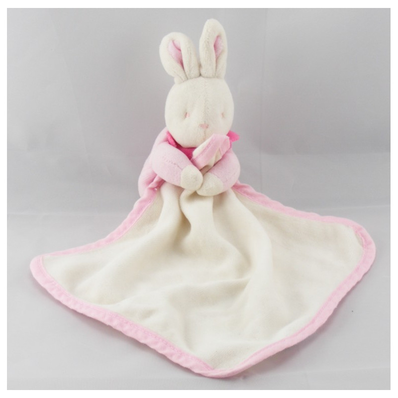 Doudou lapin rose et son mouchoir Klorane Lot de 2