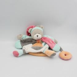 Doudou et compagnie marionnette ours blanc bleu rose orange Collector Pêche Fraise