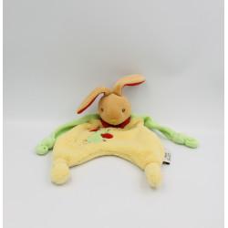 Doudou plat lapin jaune vert rouge QUE DU BONHEUR