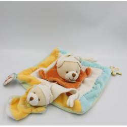 Doudou et compagnie plat ours blanc bleu vert jaune orange J'aime Maman Papa