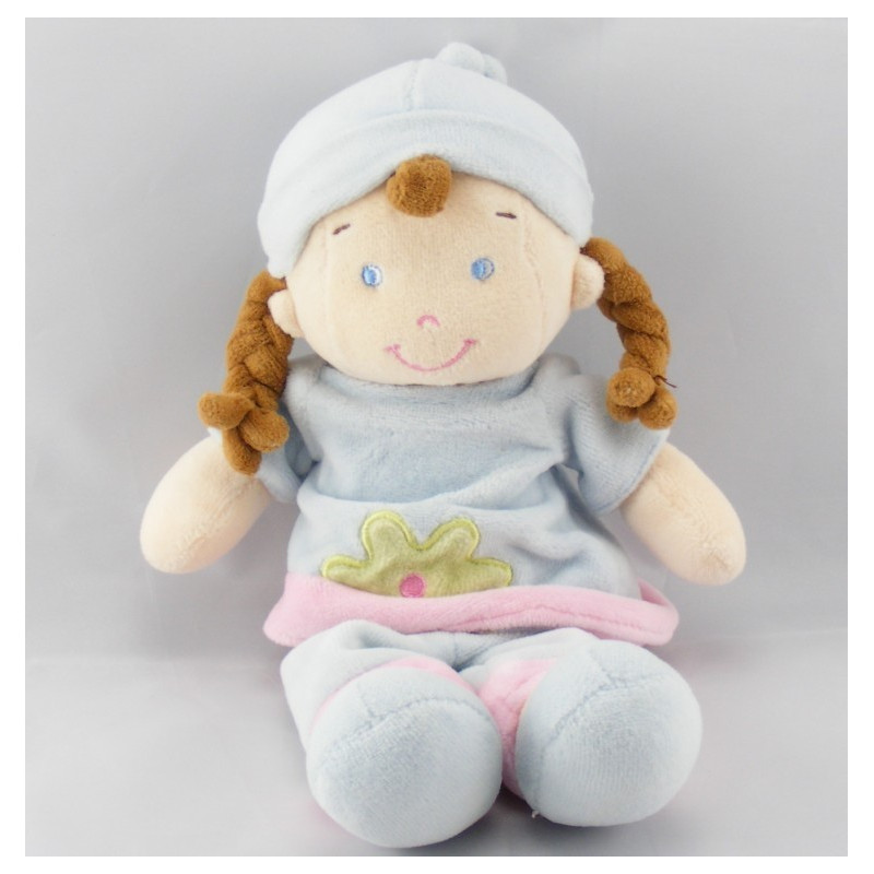 Doudou fille fillette bleu ciel rose MOTS D'ENFANTS