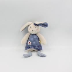 Doudou lapin gris bleu pois...