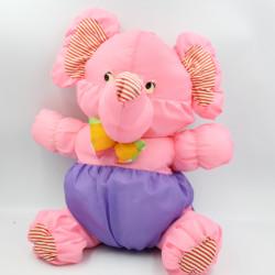 Peluche Puffalump éléphant rose violet