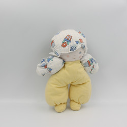 Doudou poupée lutin jaune blanc bleu fleurs NOUNOURS