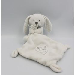 Doudou lapin blanc gris pois mouchoir Mon petit coeur POMMETTE