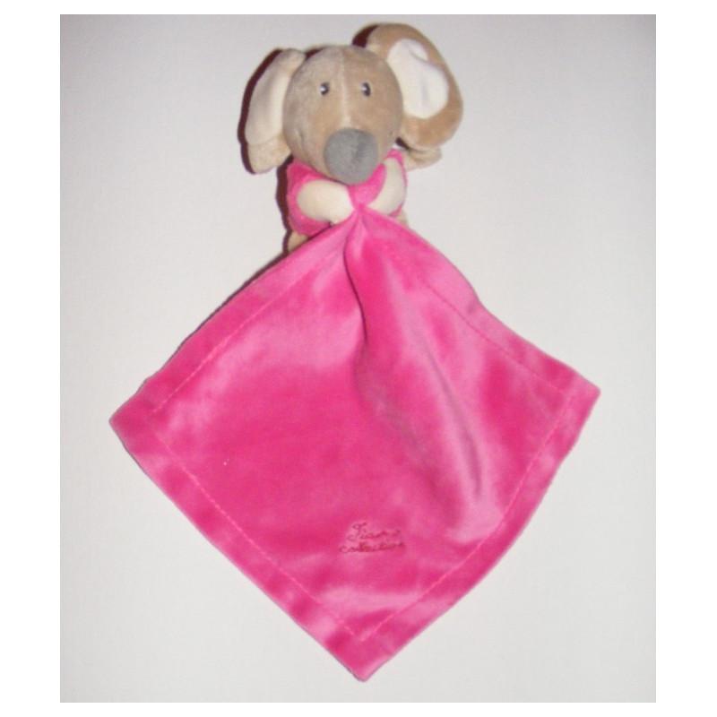 Doudou souris avec mouchoir rose TIAMO