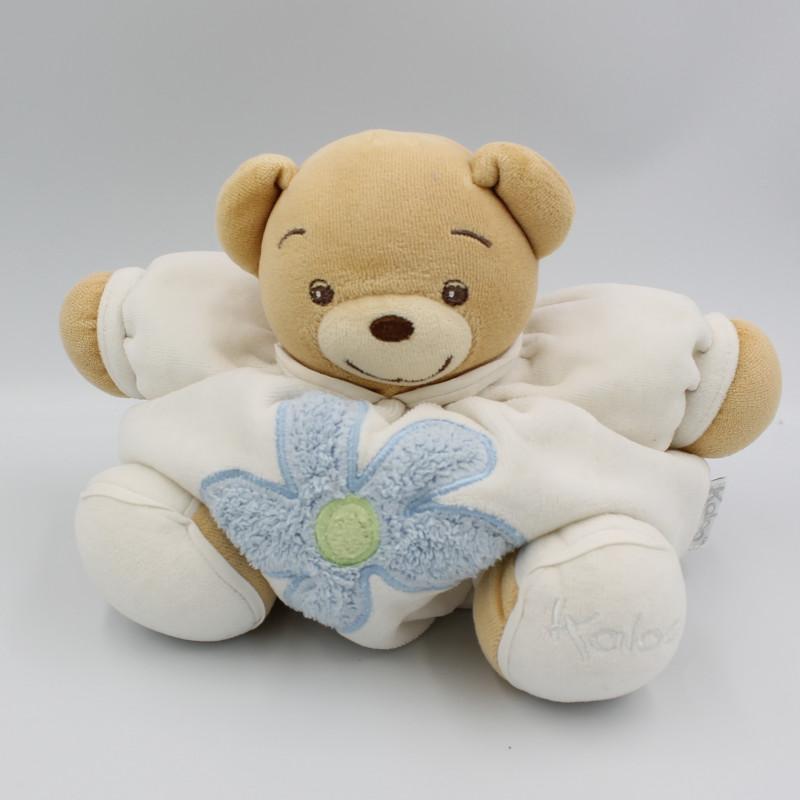 Doudou ours boule patapouf blanc fleur bleue KALOO