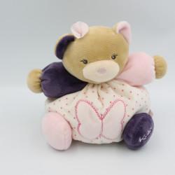 Doudou ours beige rose violet papillon Petite rose KALOO