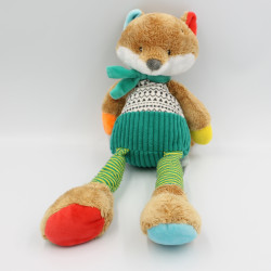 Doudou renard beige vert orange rouge MOTS D'ENFANTS