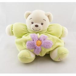 Doudou Boule Ours patapouf vert avec fleur mauve Kaloo