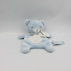 Doudou plat ours bleu blanc pois TEX