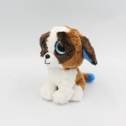 Doudou peluche chien marron blanc gros yeux brillant Duke TY