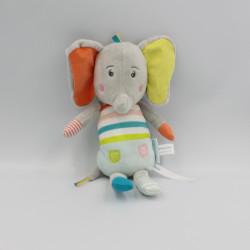 Doudou éléphant gris jaune orange vert bleu BEBE CONFORT