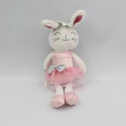 Peluche lapin blanc robe tutu rose ANIMAL ADVENTURE 30 cm