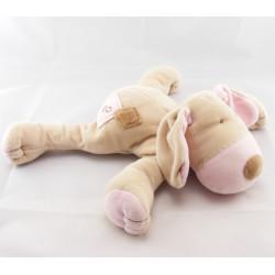 Doudou chien couché beige OBAIBI