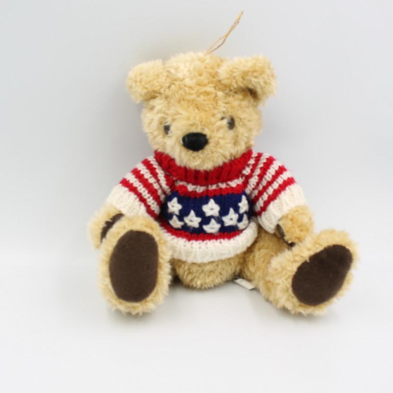 Peluche ours beige marron pull laine rouge bleu blanc ROTTERDAM