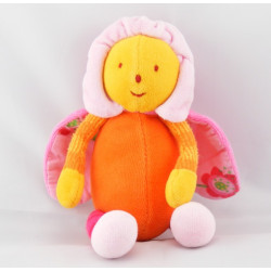 Doudou LOUNA l'Abeille Orange papillon fleur Moulin Roty