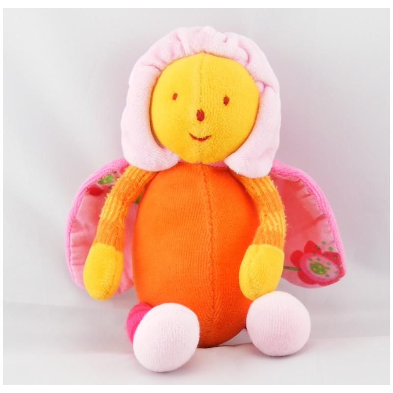 Doudou LOUNA l'Abeille Orange papillon fleur Moulin Roty