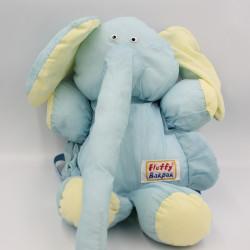 Peluche sac Puffalump éléphant bleu jaune FLUFFY BAKPAK
