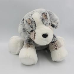 Doudou peluche chien gris marron blanc tout doux DANI