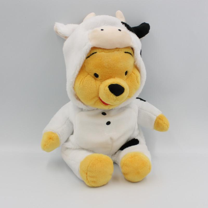 Doudou peluche Winnie l'ourson déguisé en vache DISNEY NICOTOY